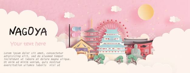Viaje conceito com nagoya, japão famoso marco em fundo rosa. ilustração de corte de papel