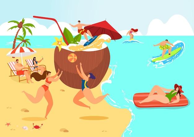Viaje de férias no mar perto de um enorme coco