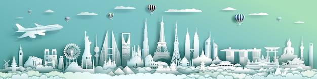 Viaje mundo arquitetura mundo com fundo turquesa. Vetor Premium