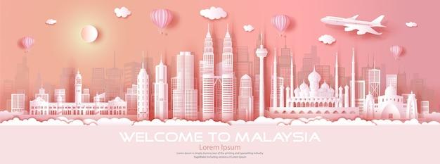 Viaje na malásia, cidade famosa mundialmente, arquitetura moderna e antiga. faça um tour pela malásia na ásia com um origami de papel.