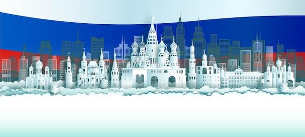 Viaje na rússia, cidade mundialmente famosa, arquitetura antiga e palácio. passeie pelo marco histórico de moscou com as cores da bandeira da rússia.