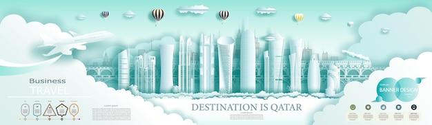 Viaje no topo do arranha-céu moderno do qatar e a famosa arquitetura da cidade. com infográficos. tour de doha no marco do qatar da ásia com o horizonte popular.