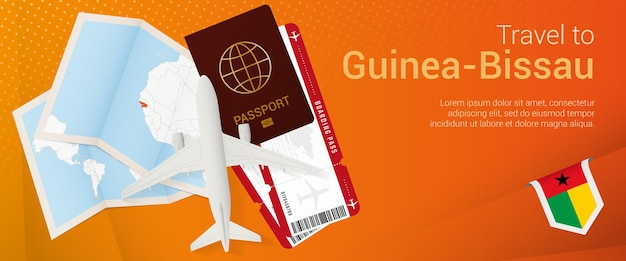 Viaje para a guiné-bissau pop-under banner. banner de viagem com passaporte, passagens, avião, cartão de embarque, mapa e bandeira da guiné-bissau.