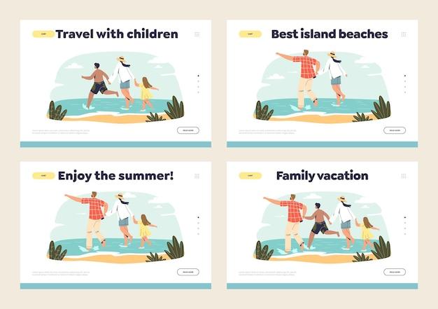 Viaje para a praia do mar com crianças para férias em família conceito de conjunto de modelos de páginas de destino