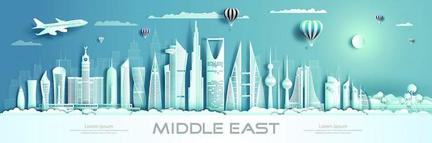 Viaje para os marcos do oriente médio da ásia com arquitetura moderna.