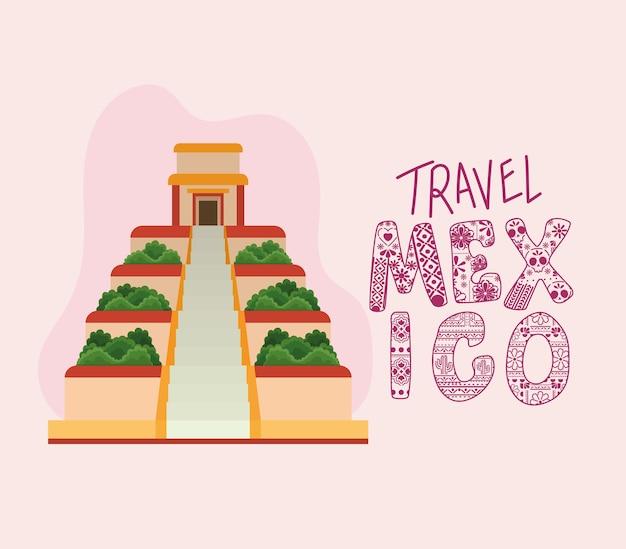 Viaje pela cultura mexicana com desenho de pirâmide e tema de referência do turismo mexicano