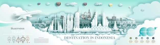 Viaje pela indonésia, a arquitetura antiga e o palácio da cidade famosa mundialmente. com infográficos. tour de jacarta marco da ásia com fundo de bandeira da indonésia.