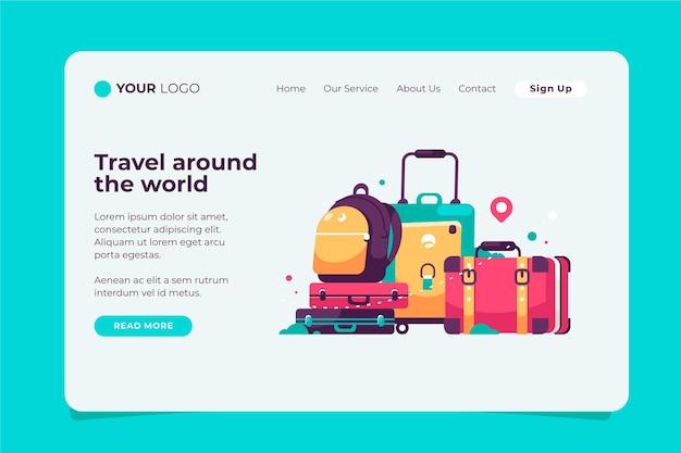Viaje pela página de destino do turismo mundial