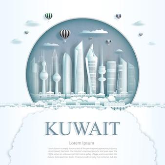 Viaje pelo monumento do kuwait no edifício moderno da cidade do kuwait em fundo de textura de círculo.