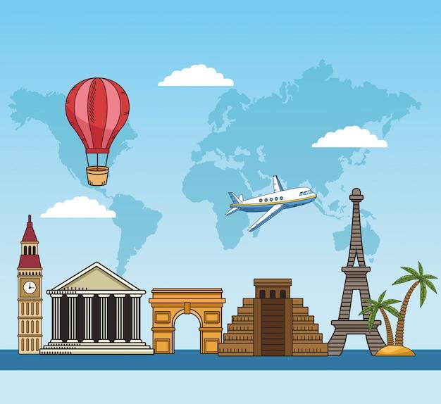 Viaje pelo mundo com lugares famosos
