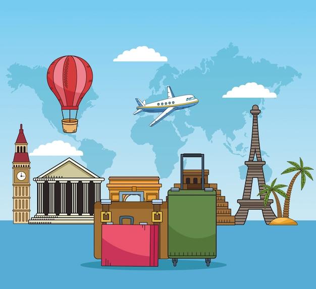 Viaje pelo mundo com malas e lugares famosos