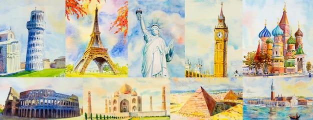 Viaje pelo mundo e pontos turísticos.
