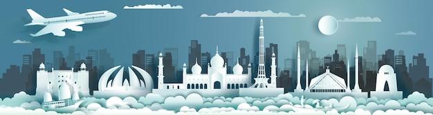 Viaje pelo paquistão com um monumento antigo e um edifício moderno com o horizonte em estilo recortado