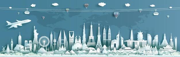 Viaje pelos marcos mundiais da arquitetura, monumentos arquitetônicos importantes do mundo.