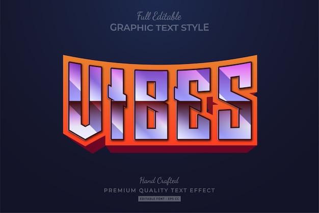 Vibes 80's retro editable text style effect premium