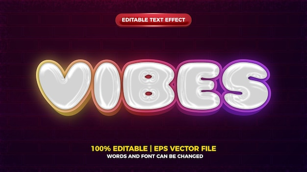 Vibes brilham efeito de texto editável em negrito em 3d cromado