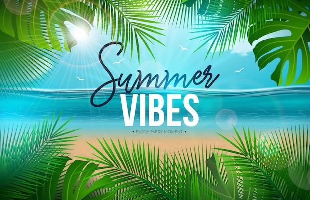Vibes de verão com folhas de palmeira e paisagem do oceano