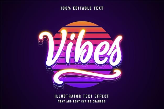 Vibes, efeito de texto editável em 3d, cor de gradação branca, estilo de texto neon completo