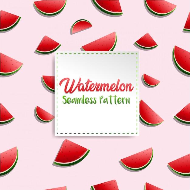 Vibração de verão fresca melancia realista padrão com fundo rosa