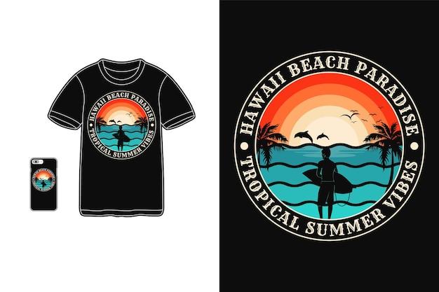 Vibrações de praia do havaí, camiseta com design silhueta estilo retro