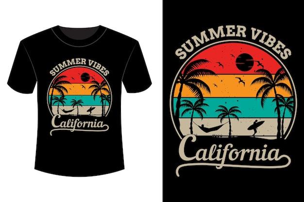 Vibrações de verão california t-shirt design vintage retro