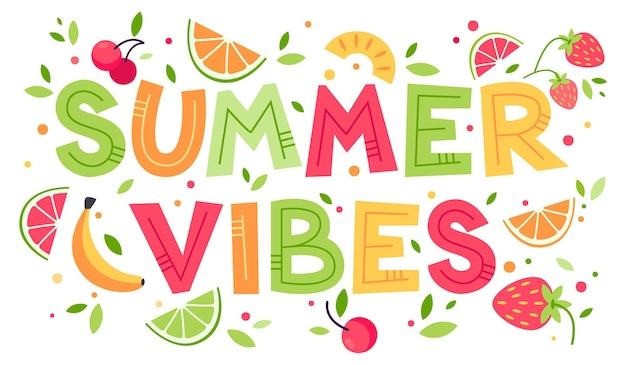 Vibrações de verão colorido verão suculento ilustração plana dos desenhos animados