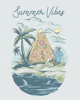 Vibrações de verão com esqueleto na praia