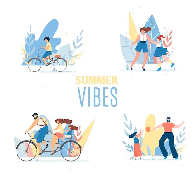 Vibrações de verão definidas com familiares felizes em repouso