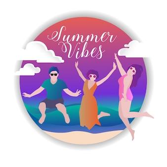 Vibrações de verão divertido vector colourfull