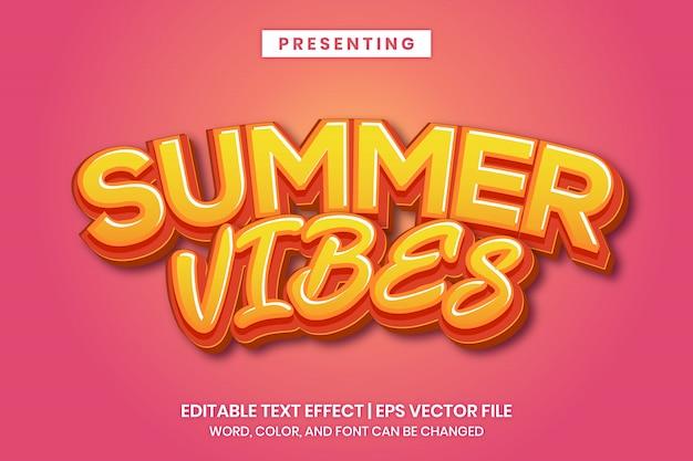 Vibrações de verão - efeito de texto editável do título do cartaz