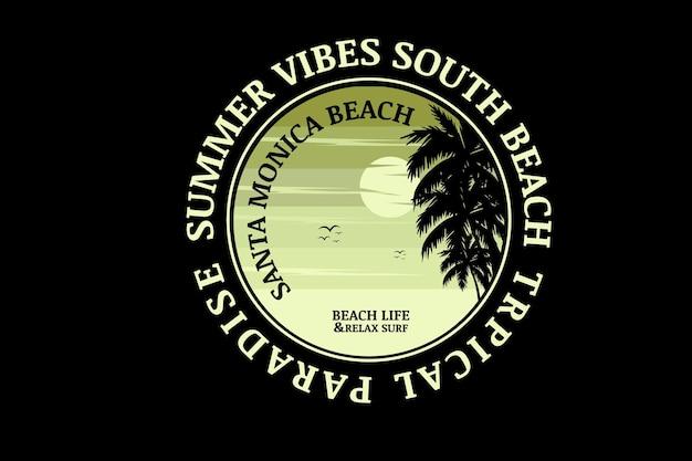 Vibrações de verão praia sul paraíso tropical cor verde gradiente