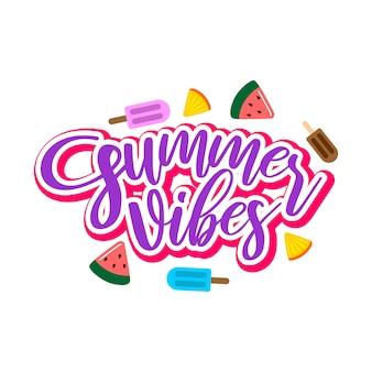 Vibrações de verão rotulação tipografia design