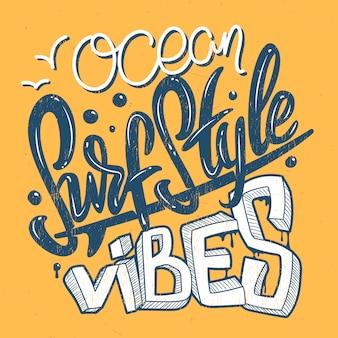 Vibrações do oceano estilo surf, impressão de t-shirt.