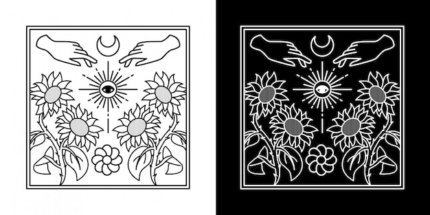 Vibrações do verão com projeto da placa da mão monoline