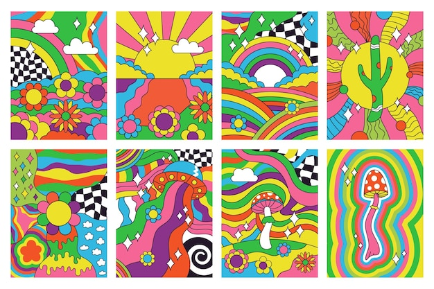 Vibrações retrô descoladas, pôsteres de arte psicodélica no estilo hippie dos anos 70. conjunto de ilustração vetorial abstrato psicodélico hippie paisagem dos anos 60 cartazes. capas retrô estilo hippie