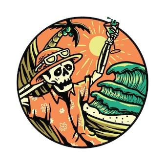Vibrações verão esqueleto horror halloween relaxa verão gráfico ilustração