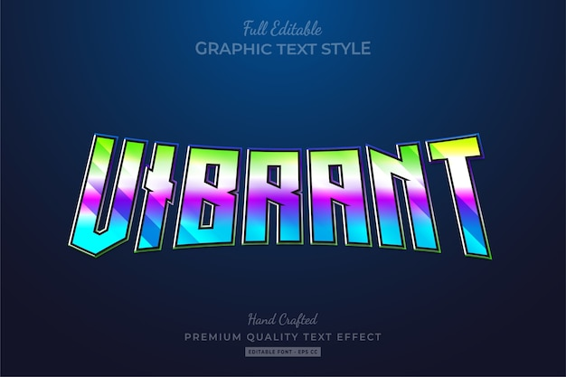 Vibrant gradient 80's retro editable premium text style effect