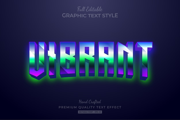 Vibrant gradient 80's retro editable text style effect premium