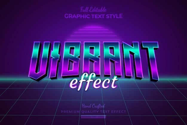 Vibrant gradient 80s retro wave editable text effect effect font style