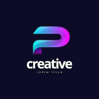 Vibrante na moda colorida criativa letra p logotipo