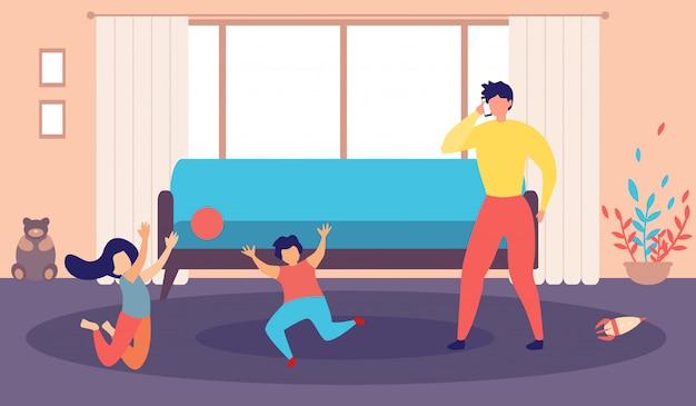 Viciado de telefone jovem pai e crianças travessas