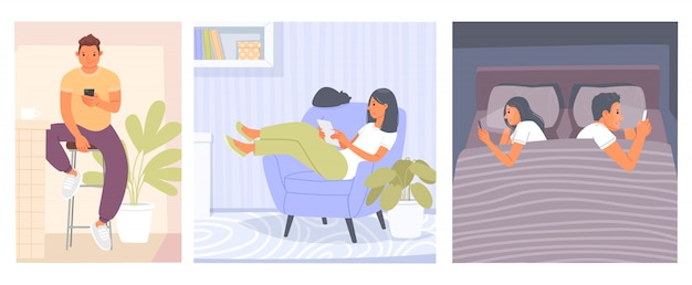 Vício em internet. pessoas em casa usam gadgets. um homem lendo notícias ao telefone, uma mulher com um tablet, um casal deitado na cama olhando para seus dispositivos. ilustração vetorial em estilo simples