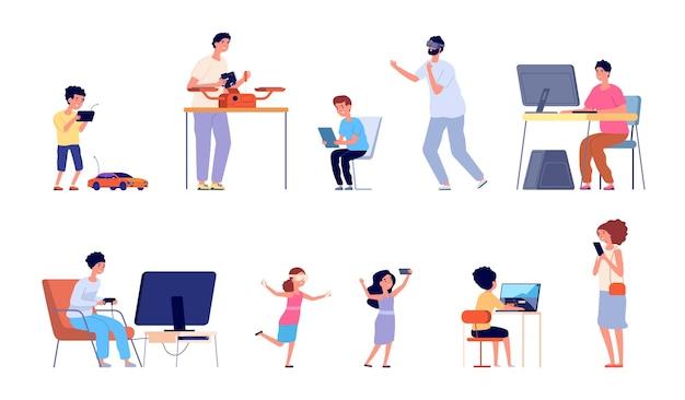 Vício em jogos. pai, filho, jogando videogame, jogadores de computador adultos e crianças. assistindo tv na internet, pessoas e conjunto de vetores de passatempo moderno. pessoas jogando com joystick ou ilustração de vr