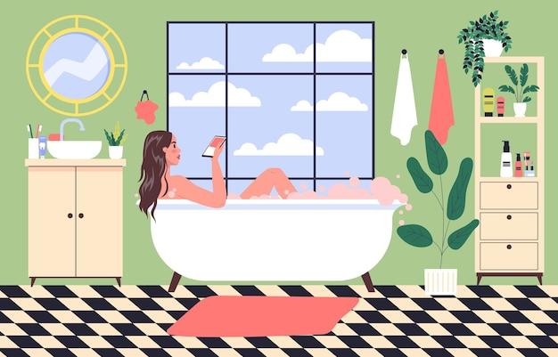 Vício em martphone. jovem passa o tempo navegando na internet deitada na banheira. menina tomando banho na banheira com o celular na mão. ilustração