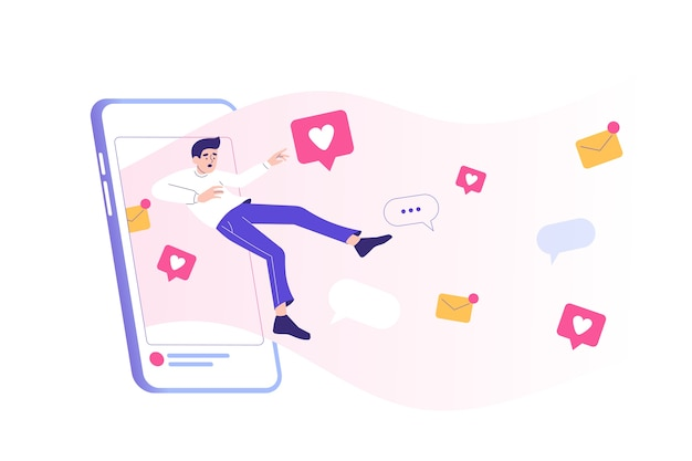Vício em mídia social com um homem entrando em uma enorme tela de smartphone