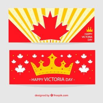 Victoria dia bandeiras com coroa e folha