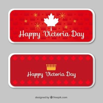 Victoria dia bandeiras com folha e coroa