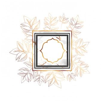 Victorian dourado com moldura e flores