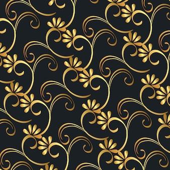 Victorian e floral fundo dourado
