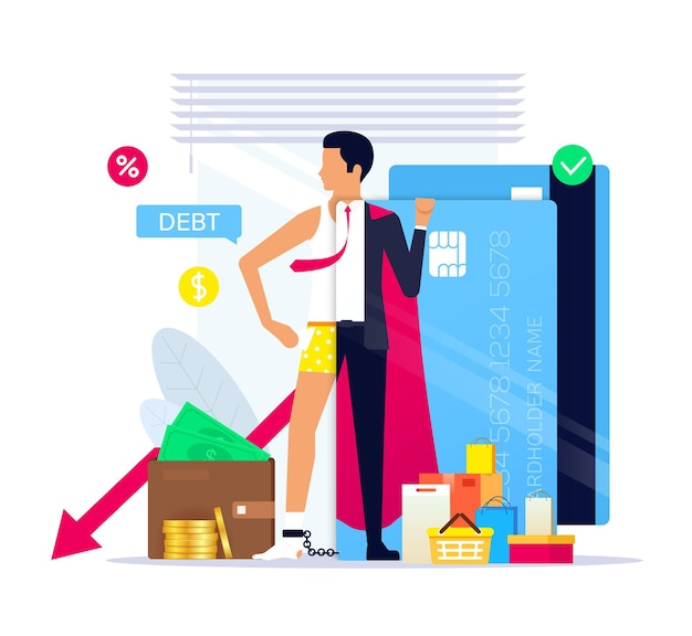 Vida a crédito como um estilo de vida, super-herói de crédito. dívida de cartão de crédito.
